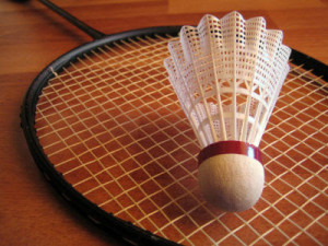 Badminton racquet with shuttlecock picture